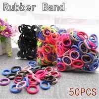 50 teile/los Schwarz Bunte Elastische Scrunchie Haar Seil Ring Headwear Gummibänder Pferdeschwanz Haar bands Krawatten Haar Haar accessoriesr