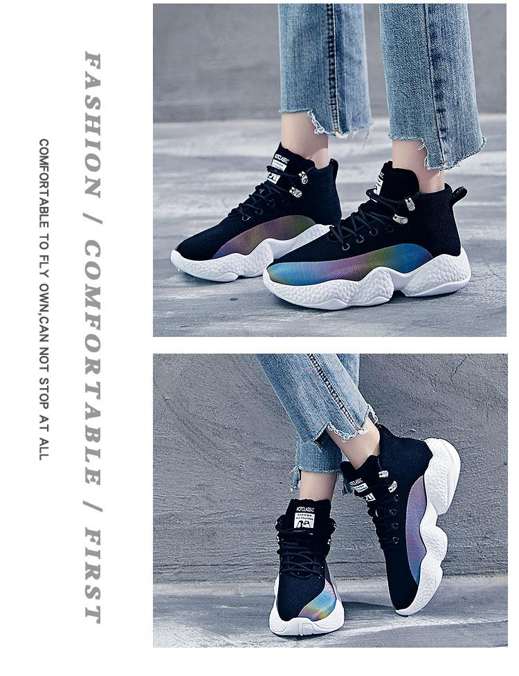 Women Sneakers Female Korean Version Color Thick Bottom White Black Ladies Casuals Footwear Women Run Shoes 30