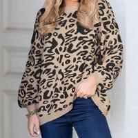 2019 Autumn Winter Casual Loose Women Long Sleeve Leopard Print Pullover Sweater Streetwear Knit Vintage Sweater Female Tops