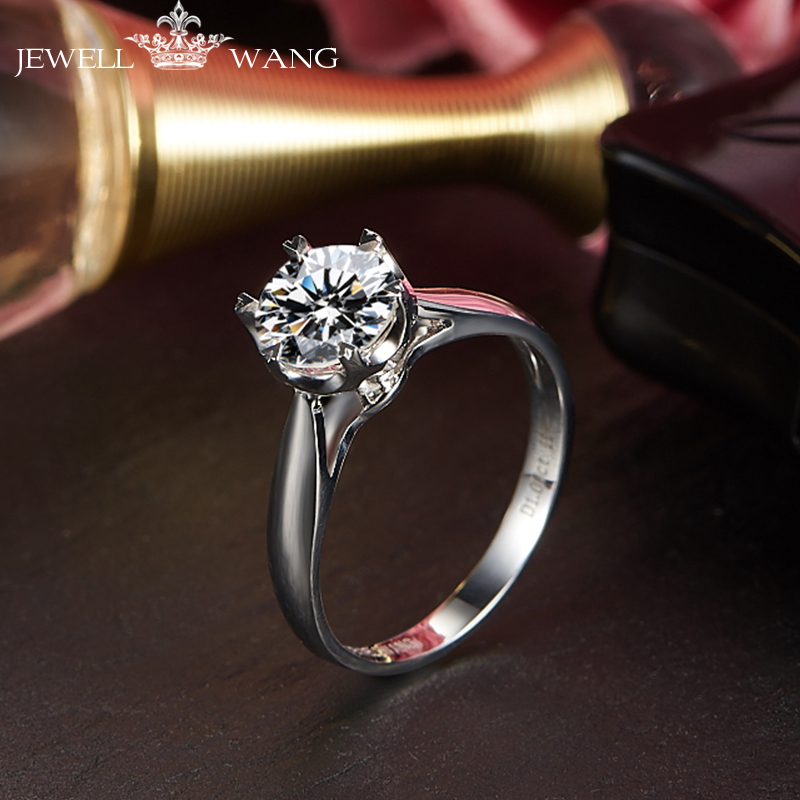 Jewellwang moissanites кольцо круглые снежинки 0.5ct карат certified vvs1 Кольца для Для женщин 18 К Настоящее Белое золото