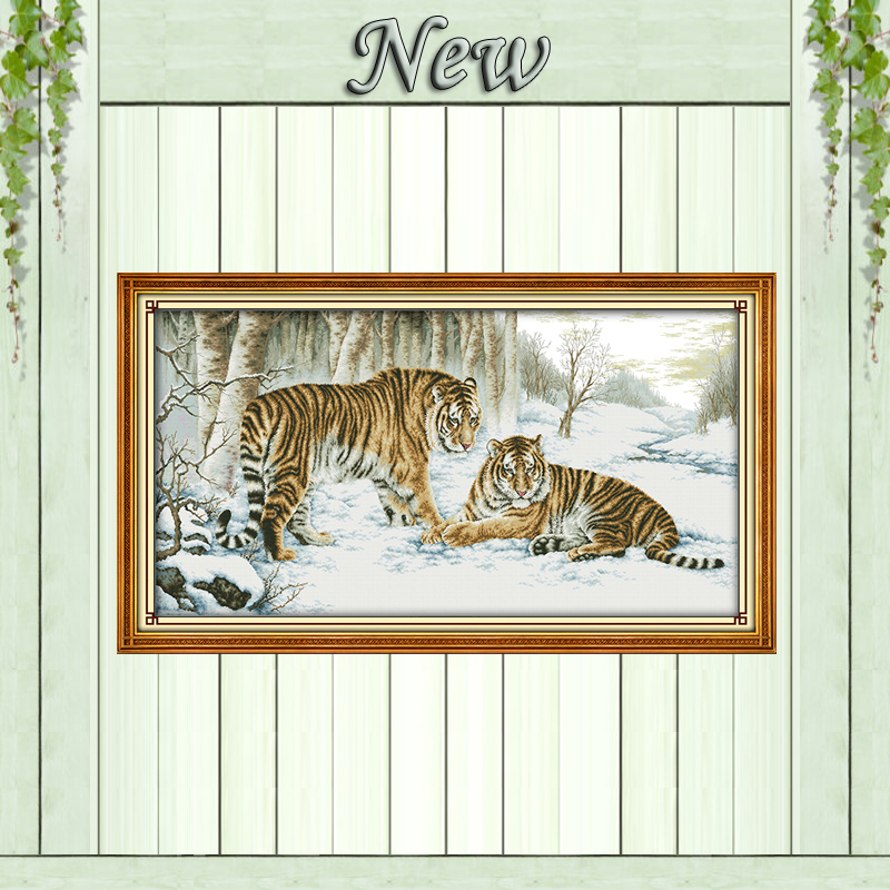 Tiger forest snow mascot animal painting counted print on canvas DMC14CT 11CT chinese Cross Stitch Needlework