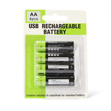 ZNTER 4PCS/set AA Rechargeable Battery 1.5V 2A 1250mAh USB Charging Lithium Bateria with Micro Cable