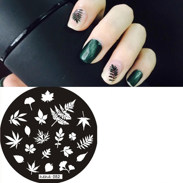 1pc Nail Stamping Plates hehe-052 Maple Leaf Patten Nail Stamp Templates Plates Stainless Steel DIY Image Print Tools 5.5cm