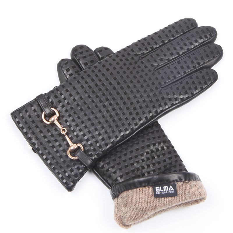 Autumn Winter Woman Genuine Leather Gloves Imported Sheepskin Wool Lined Fashion Metal Button Driving Female Mittens EL044NZ in Women 39 s Gloves from Apparel Accessories