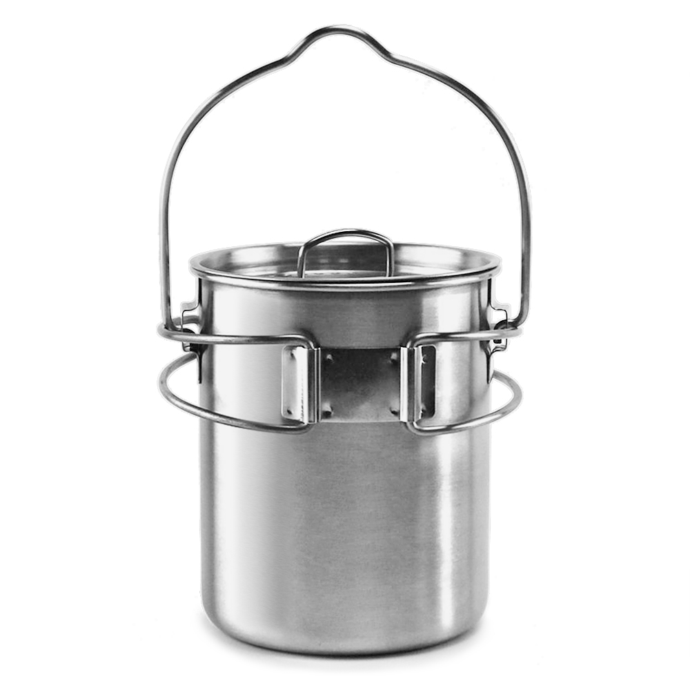 Portable Outdoor Stainless Steel Camping Mug Water Cup with Foldable Handle Outdoor Tableware Camping Hiking-in Outdoor Tablewares from Sports & Entertainment