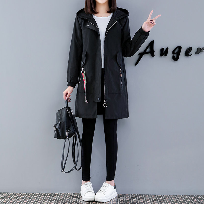 Fashion Long Trench Coat Female 2019 New Spring Autumn Korean bf loose Large Size Embroidery Hooded Coat Women Windbreaker n378