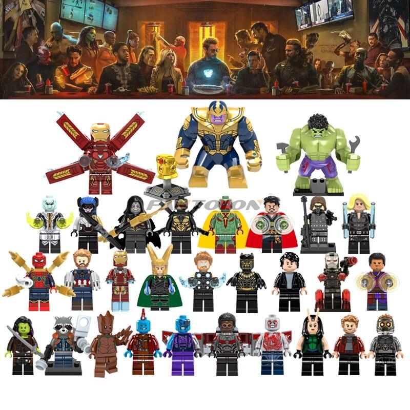 Superhero Legoinglys Avengers Infinity War grote Thanos Thor Black Panther Falcon Gamora Hulk Wong Star Wars