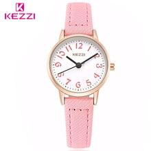 Kezzi marca relojes de moda modelos femeninos estudiantes casual tela correa arábigos dial chica relojes de pulsera de cuarzo reloj de pulsera