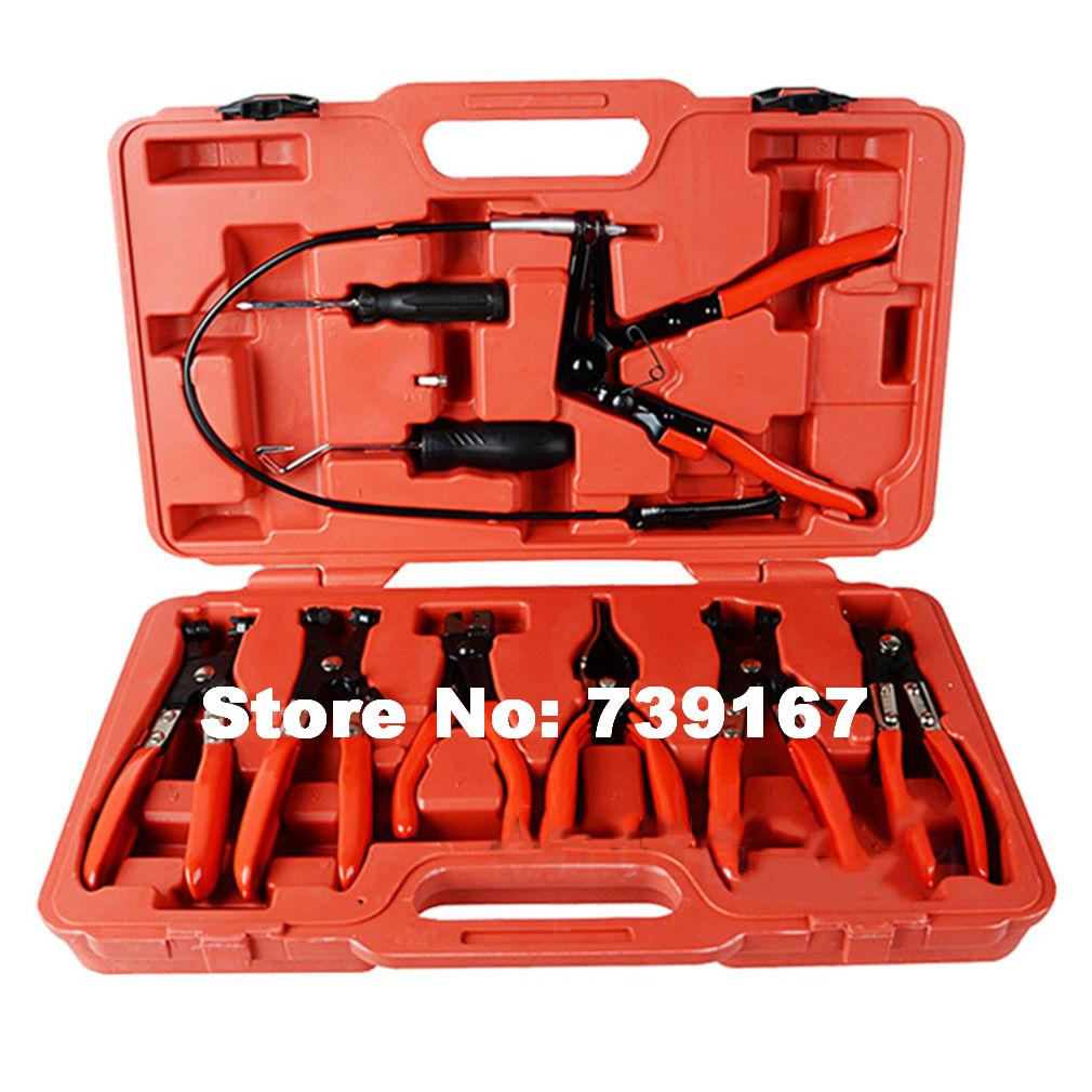 9PCS Car Flexible Hose Clamp Pliers Remover Auto Wire Clip Pliers Repair Garage Tools For Volkswagen Ford Mercedes ST0029 quality 9 in 1 flexible hose clamp plier kit pliers tool set with case auto vehicle tools cable wire long reach car repair tools