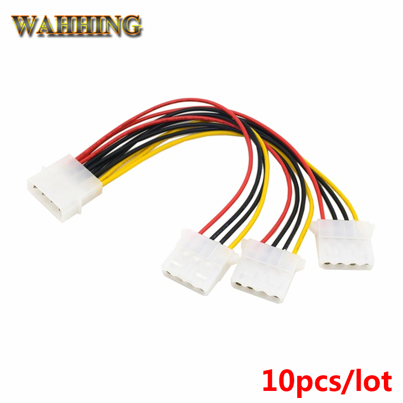 10pcs 4 Pin Molex Male to 3 port Molex IDE Female Power Supply Splitter Adapter Cable Computer 4Pin IDE Power Cables HY1578 10pcs molex to sata power adaptor cable lead 4 pin ide male to 15 pin hdd serial ata converter cables