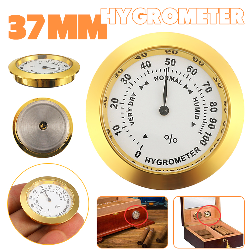 Mosaic Hygrometer 37mm Moisture Meters Cigar Accessories Tobacco Pointer Hygrometer For Humidor Smoking Humidity Sensitive Gauge