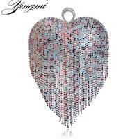 YINGMI Tassel Rhinestones Women Evening Bag Finger Ring Fashion Party Wedding Clutch Purse With Chain Shoulder Handbags