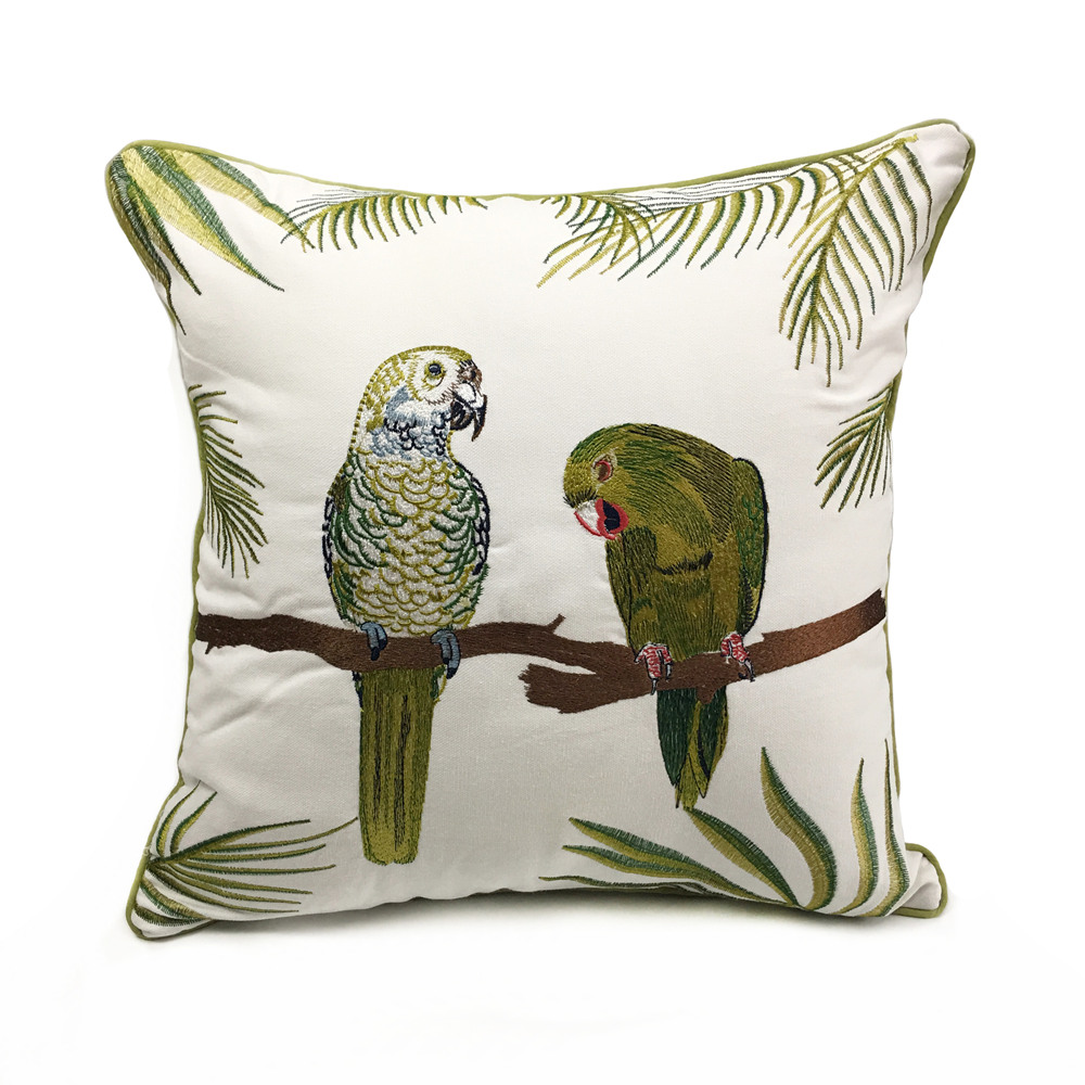 Deluxe Embroidery Parrots Plant Designer Pillow Cover Sofa Cushion Cover Canvas Home Bed Decorative Case 45 x 45cm Sell by Piece