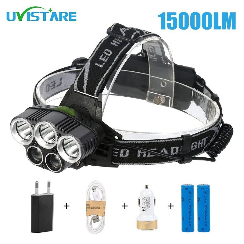 Uvistare T5 15000lm High Brightness Head lamp Led Headlamp with Batteries Alu alloy Body Lantern on