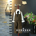 Corea individual 2017 de primavera de los nuevos niños muchachas de la ropa de estilo Occidental con cuentas camisa corta + pantalones anchos de la pierna pantalones traje de envío gratis