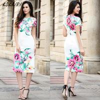 2017 New Arrival Women Dresses S XXL Chinese Style Floral Print Dress Short Sleeves Knee Length