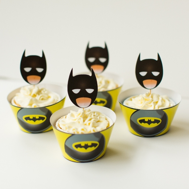 Free Shipping batman cupcake wrappers toppers picks decorations for ...