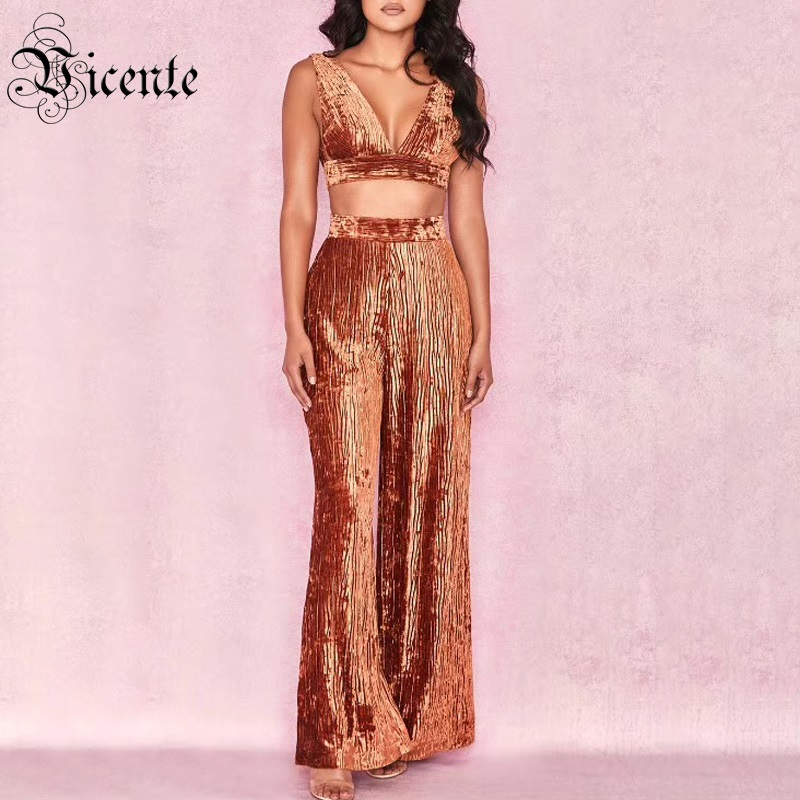 Vicente 2019 New Chic Rust Red Two Pieces Set Sexy Deep V Neck Backless Sleeveless Celebrity