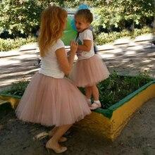 Mère fille deux pièces maille Tulle jupe 2019 mode 7 couches moelleux Tulle jupes maman et fille correspondant vêtements famille