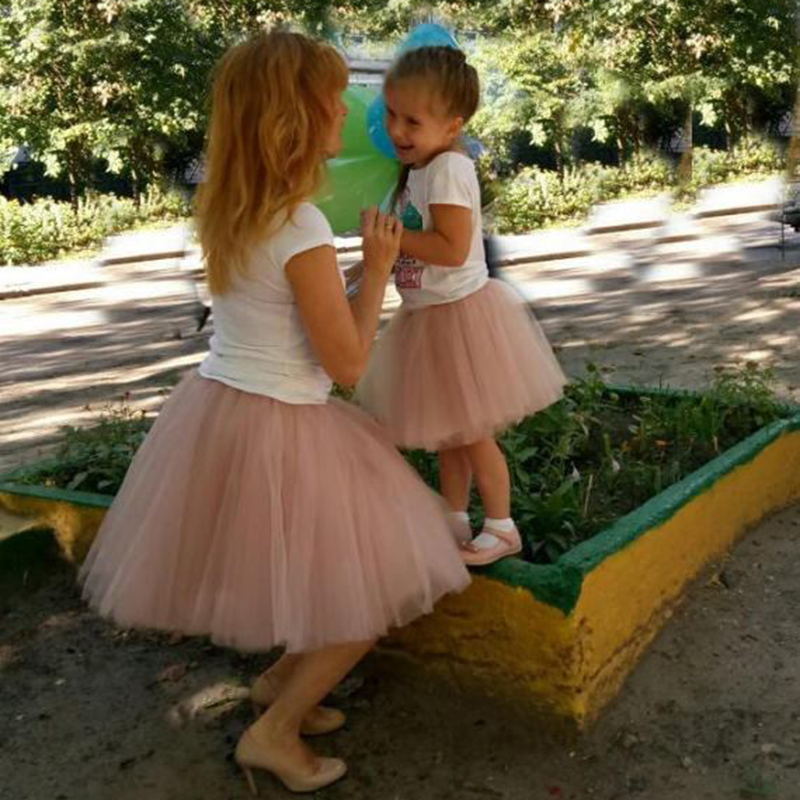 Mother Daughter Two Piece Mesh Tulle Skirt 2020 Fashion 7 Layers Fluffy Tulle Skirts Mom And Daughter Matching Clothes Family