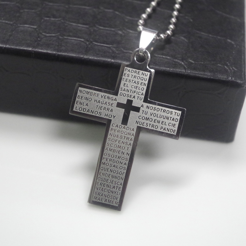 Men Cross Pendant Necklace Stainless Steel Link Chain Statement Jewelry TK