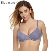 Ekouaer Women Underwear Backless Intimates Underwire Memory Foam Solid 3 4 Cup A B C D