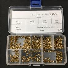 цена на 500Pcs M2.5 M3 M4 Mix GB876 Tubular Rivets Double-sided Circuit Board PCB Nails Copper Hollow Rivet Nuts Assortment Kit HK004