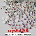 Glue On Crystal Rhinestones For Nails Art 1440pcs ss12 3.0-3.2mm Crystal AB Color Flat Back Non Hot-fix Glass Stones DIY Jewerly