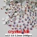Pegamento En Pedrería de Cristal Para Uñas Arte 1440 unids ss12 3.0-3.2mm Crystal AB Color de la Parte Posterior Plana No Caliente-fix Piedras De Cristal DIY Jewerly
