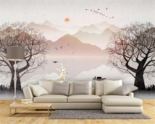 Купить с кэшбэком Beibehang Custom photo wallpaper Forest abstract artistic ink landscape white deer tv background wall wall papers home decor