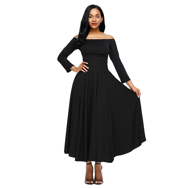 Black-Retro-High-Waist-Pleated-Belted-Maxi-Skirt-LC65053-2-1