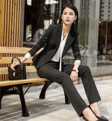 Строгие Черные 2018 новые стили Бизнес костюмы с топы и штаны для Для женщин офисные Повседневная обувь единые конструкции брючный костюм и