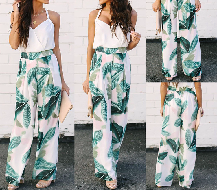 Bohemian Style   Wide     Leg     Pants   For Women Summer 2019 White And Green Leaf Pattern Printed   Wide     Leg   Trousers Female Beachwear   Pant