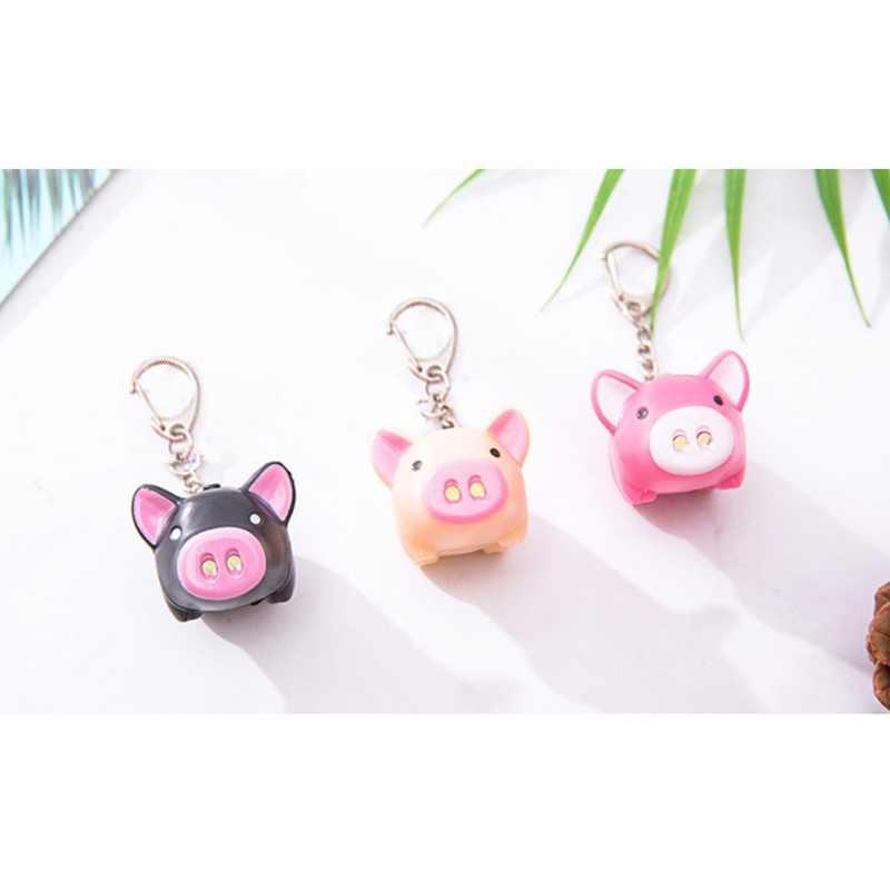 2019 Bonito Dos Desenhos Animados Porco Chaveiro Personalidade Luminous Som Porco Chaveiro Carro Fivela D Pouco Piggy Projeto Led Anel Chave Do Carro