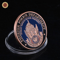 1pcs Lot Free Shipping Phoenix Police 24K Gold Plated Brass Coin Challenge Coin Medal 40 3