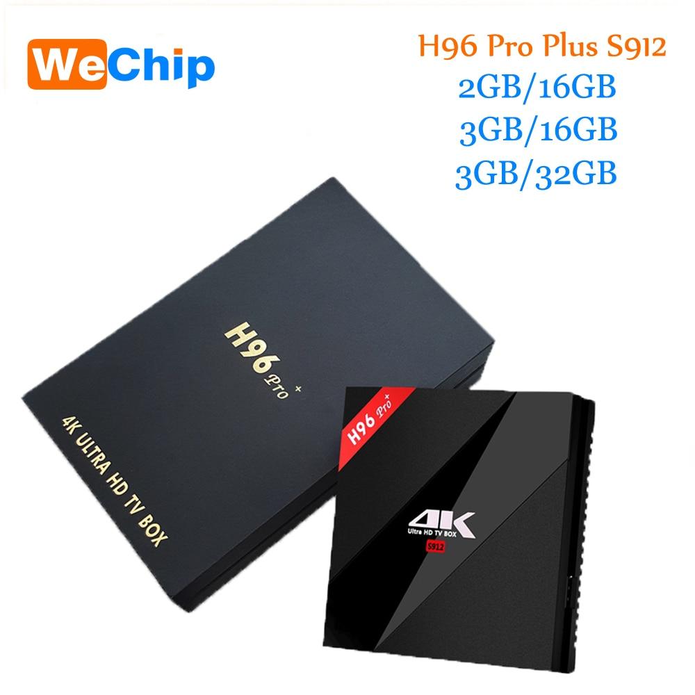 Original H96 Pro Plus android smart tv caja 7,1 Amlogic S912 Octa Core 3g/32G dual wifi BT4.1 4 K H96pro + PK X96 reproductores multimedia