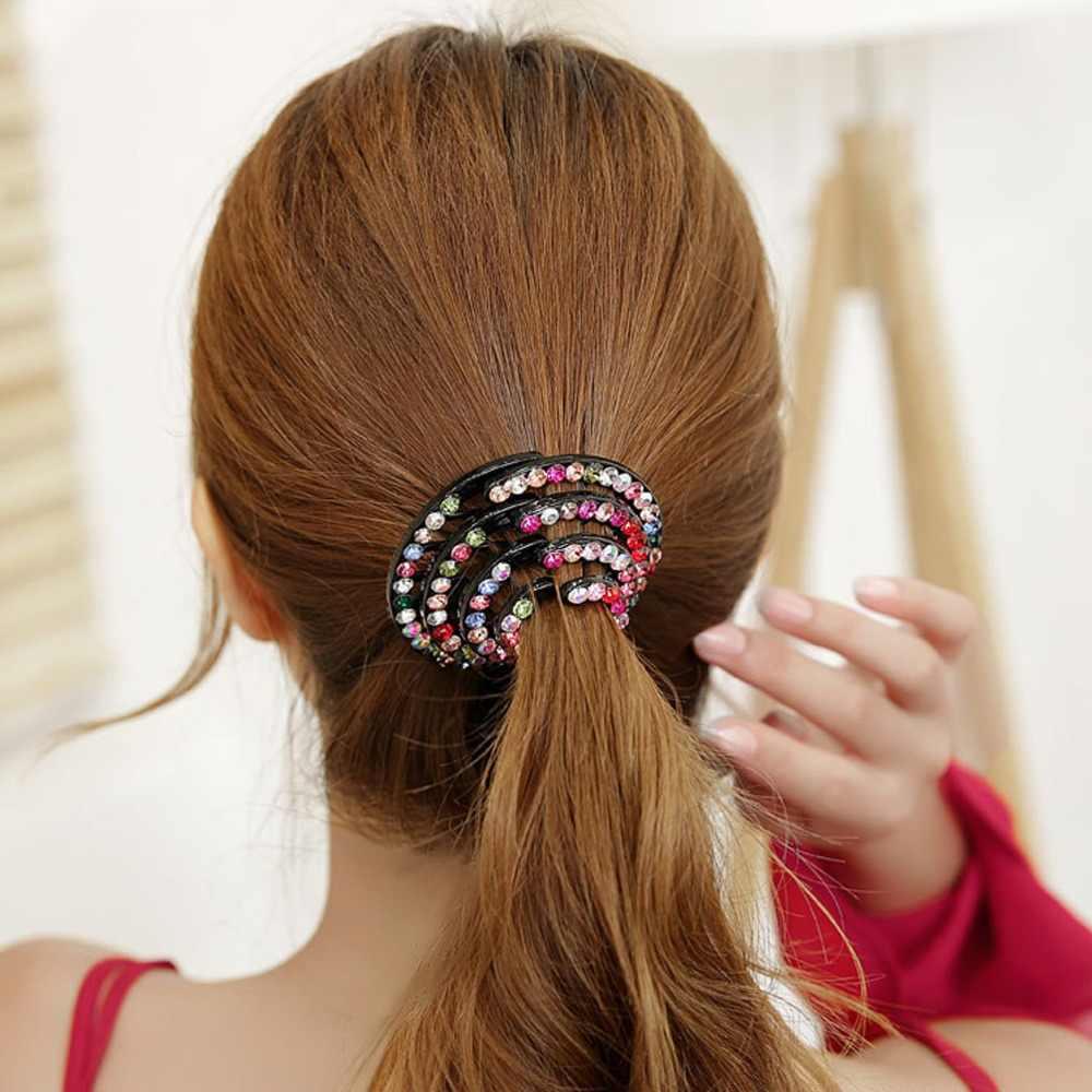 M MISM ผู้หญิงแฟชั่นผู้หญิงรอบผม Claw ปูที่มีสีสัน Hairpin Rhinestone ผมหางม้า Headwear คลิปผมอุปกรณ์เสริมผม
