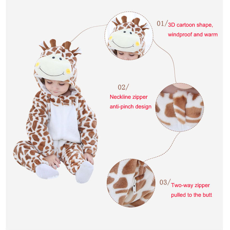 Baby Boys Girls Onesie Leopard Monkey Dog Rabbit Cosplay Flannel Warm Cute Animal Kids Dog Jumpsuits Pajama Costume Rompers