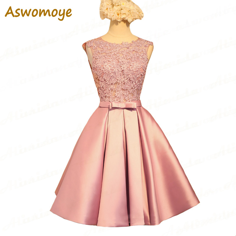 Aswomoye Short   Bridesmaid     Dress   2018 New Elegant Wedding Party   Dresses   Backless Sexy O-Neck Formal PromDress robe de soiree