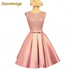 Aswomoye curto vestido de dama de honra 2018 novo elegante vestidos de festa de casamento sem costas sexy o-pescoço formal provestido robe de soiree