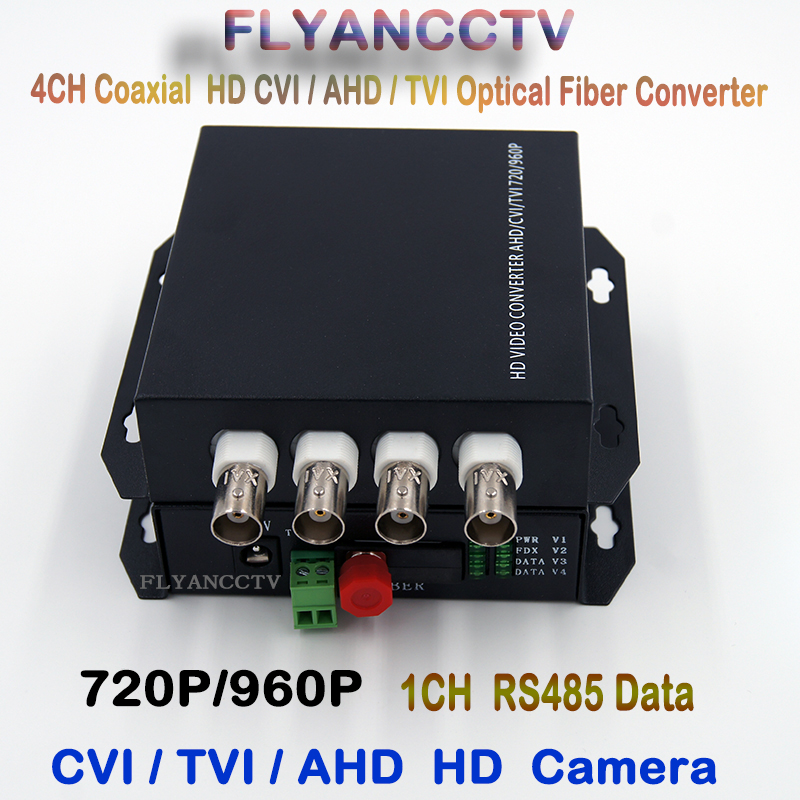 960P HD CVI AHD TVI 4 Channel Video Fiber Optical Media Converters with RS485 Data- For 1.3Mp 1MP AHD CVI TVI HD CCTV FC SM 20KM кастрюля 2 0 л werner classy 0676