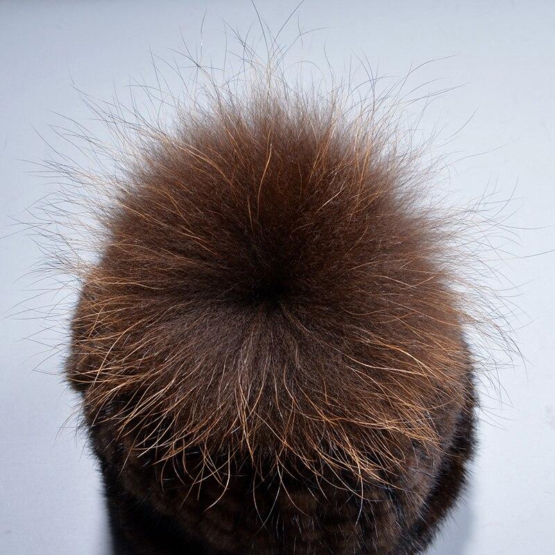 Véritable naturel vison fourrure bonnets hiver fourrure chapeaux pour femmes 2017 nouveau bonne qualité chapeau épais chaud chapeau de pompons russe fourrure casquette - 5