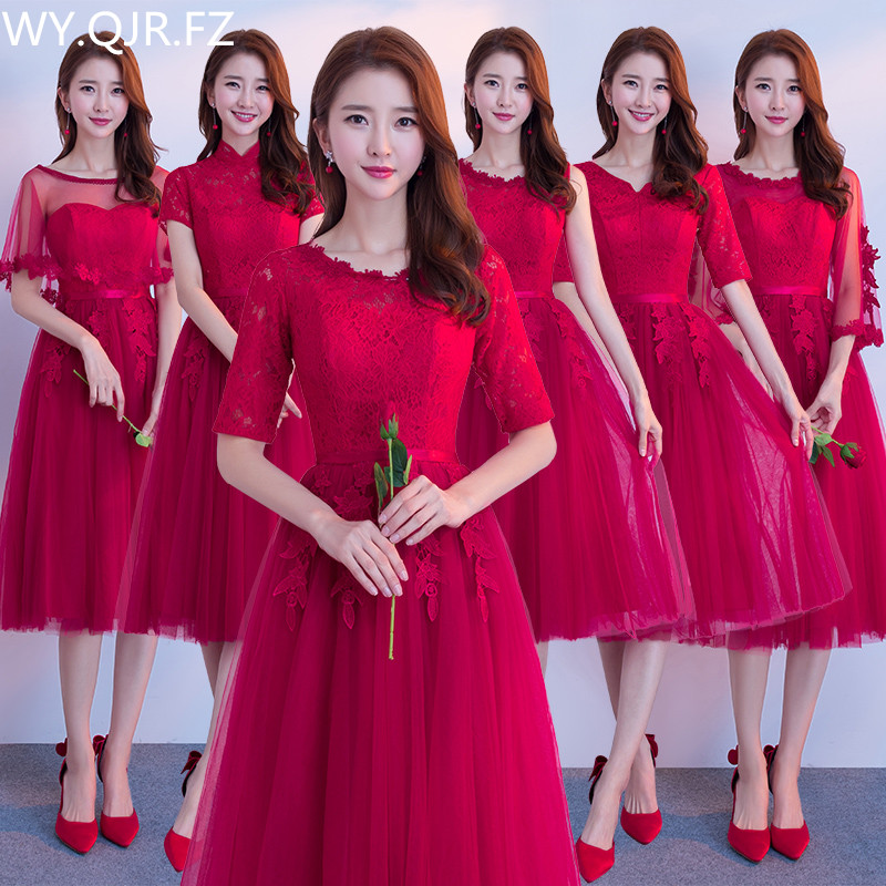 JYX79#O-Neck half sleeve lace up Medium and long style wine red Bride'   Bridesmaid     dresses   wedding party prom   dress   girl 2019 new