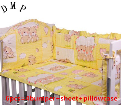 Promotion! 6pcs Cotton Baby Bedding Set Cartoon Crib Bedding Set for Girls,include (bumpers+sheet+pillow cover)