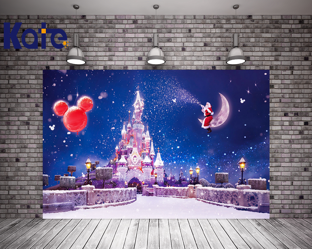 Kate Snow Castle Studio Background Backdrop Holiday Santa Claus Printed Party Backgrounds Starry Sky Children  Photo Studio