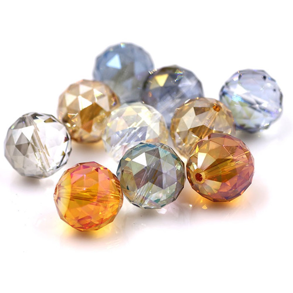 Crystal Plating <font><b>Beads</b></font> Jewelry <font><b>16mm</b></font> <font><b>Glass</b></font> Round Ball 10pcs/lot Faceted Loose Lampwork Beading For DIY Needlework Accessories image