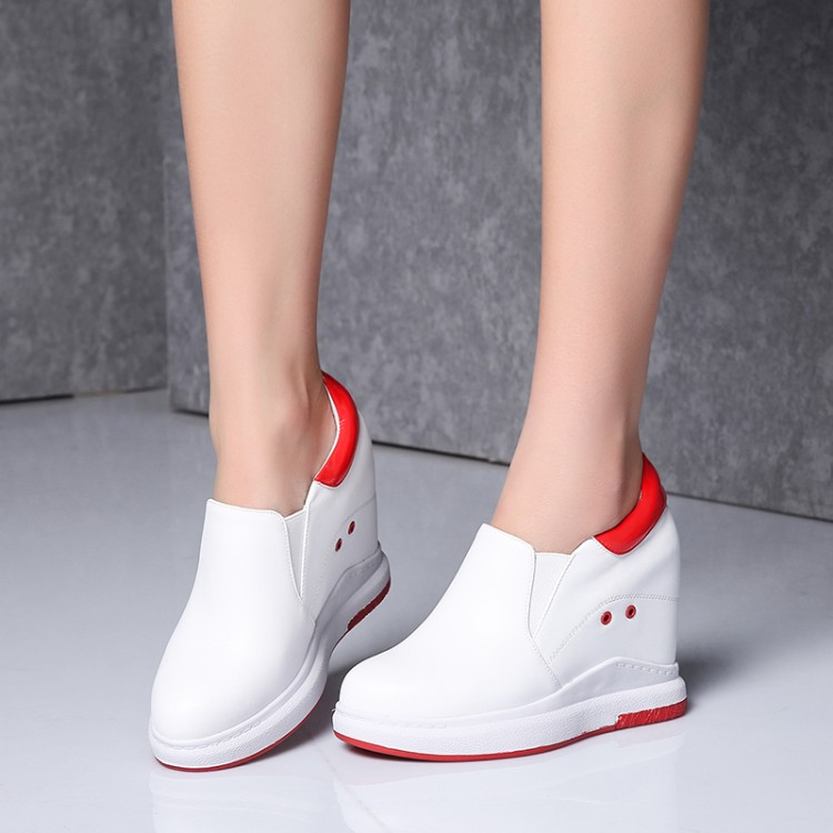 2019 New genuine leather women sneakers Platform Shoes Hidden Height Increasing Casual Wedge Shoes female high heel shoes 10CM2019 New genuine leather women sneakers Platform Shoes Hidden Height Increasing Casual Wedge Shoes female high heel shoes 10CM