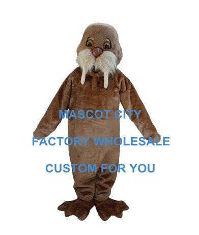 Meilleur prix Costume de Mascotte de morse brun clair belle Mascotte animaux de mer tenue Costume fantaisie robe fête carnaval SW695