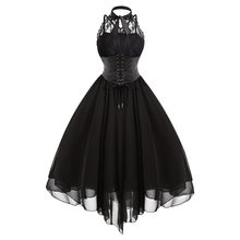 20c67f2a0 Wipalo 2017 gótico Bow vestido de fiesta Vintage sin mangas negro Cruz  Panel de encaje corsé vestido bata Vestidos Mujer