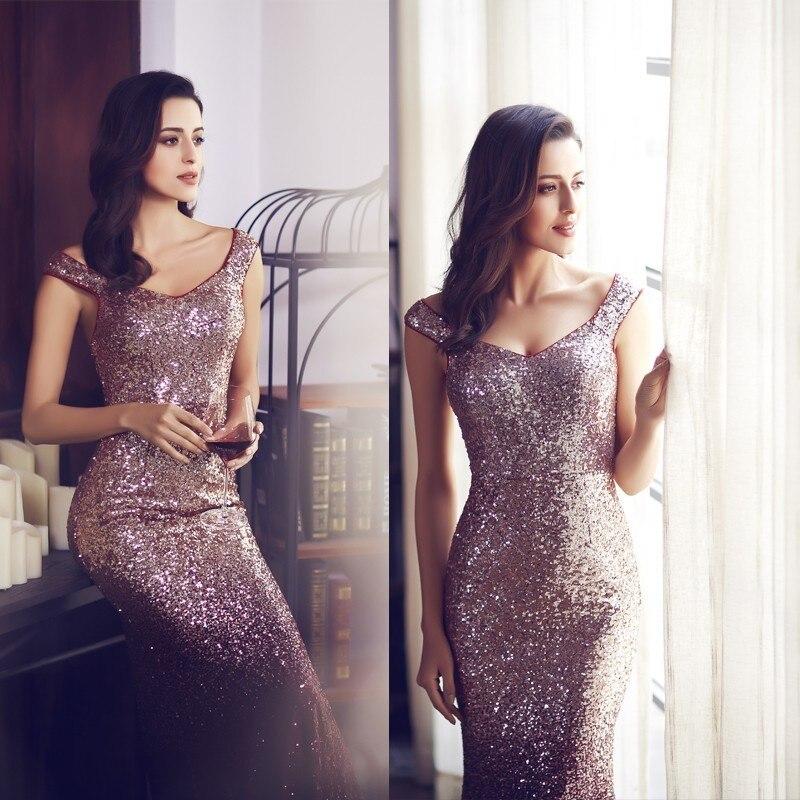 New Burgundy Prom Dresses Long Elegant Sleeveless Scoop Sequined Sparkle Mermaid Party Gowns Sexy Vestido Largo De Fiesta 2018